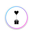 gift with balloon in shape heart icon isolated vector image vector image