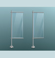 glass banners ad stands on metal vertical poles vector image vector image