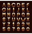 Golden Metallic Shiny ABC Letters and Numbers vector image