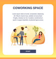 group of freelancer in coworking space banner vector image vector image