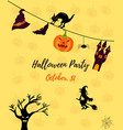 halloween invitation card with cat ghost house vector image vector image