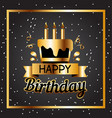 happy birthday cake golden square frame black back vector image vector image