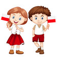 happy boy and girl holding flag of poland vector image vector image