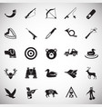 hunting icon set on white background for graphic vector image