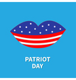 Lips with star and strip Patriot day Flat design vector image vector image