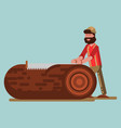 lumberjack chopping the tree with saw vector image vector image