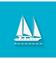 marine background with yacht vector image vector image