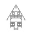 modern house in thin line style on white vector image