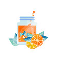 natural juice with orange and lemon organic fruit vector image vector image