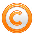 orange copyright symbol sign matte icon vector image vector image