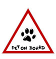 pet on board sign with paw vector image vector image