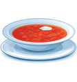 Plate with red borscht vector image vector image