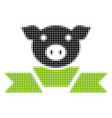 pork award ribbon halftone icon vector image
