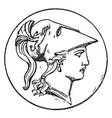 right minerva head vintage vector image vector image