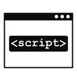 script window icon simple style vector image vector image