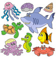 sea fishes and animals collection 2 vector image