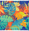 seamless pattern with tropical leaves and textures vector image vector image
