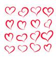 set different hearts shape vector image