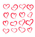set of different hearts shape vector image