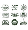 Set of isolated signs with mountains and trees