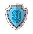 shield with finger print isolated icon vector image