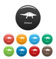 silvisaurus icons set color vector image vector image