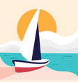 simple beach landscape with sailboat for element vector image vector image