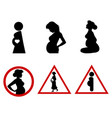 six icons pregnant women vector image vector image