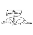 Sleeping dog holding do not disturb board vector image