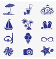summer icons blue vector image