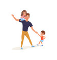 tired father with his son and daughter who wants vector image vector image