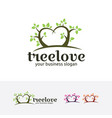 tree love logo vector image vector image
