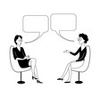 two women sit on chairs and talk with bubbles vector image vector image