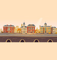 vintage city autumn street with european buildings vector image vector image