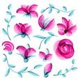 watercolor floral elements vector image vector image