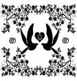 wedding doves with flourishes 3 vector image vector image