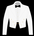 White suit with black bow tie