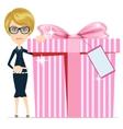 woman holding a big box gifts vector image vector image