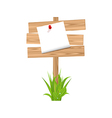 Wooden signpost with announcement grass vector image