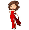 A sketch of a lady wearing a red formal dress vector image