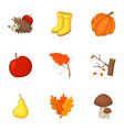 autumn icons set cartoon style vector image vector image