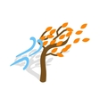 Autumn wind and tree icon isometric 3d style vector image vector image