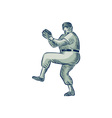 Baseball Pitcher Pitching Etching vector image vector image