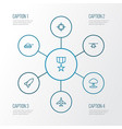 battle outline icons set collection of military vector image vector image