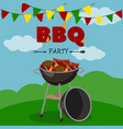bbq party banner cartoon style poster welcome vector image vector image