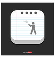 bedminton player icon gray icon on notepad style vector image