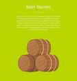 beer wooden barrels on green vector image vector image