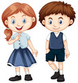 boy and girl with happy smile vector image