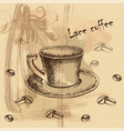 card menu with sketch of coffe vector image