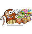 Cartoon of a Cream Puff holding a cone with a vector image